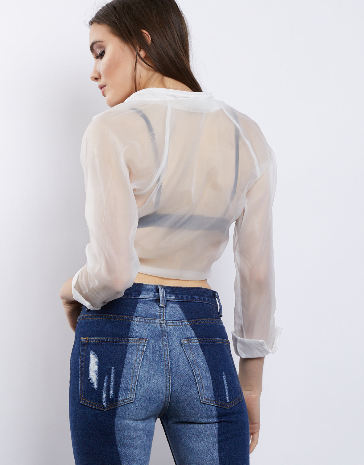 Sheer's The One Tie Front Crop Top