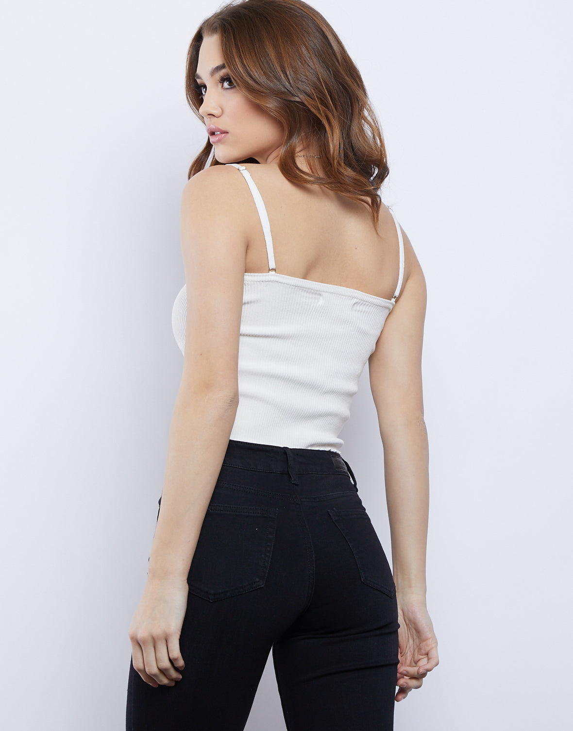 Side Striped Ribbed Tank