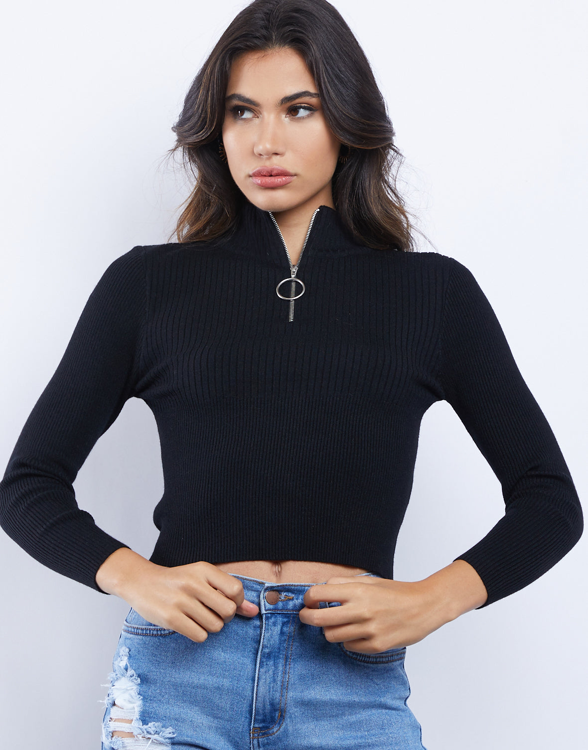 Sidni Ring Zipper Ribbed Top