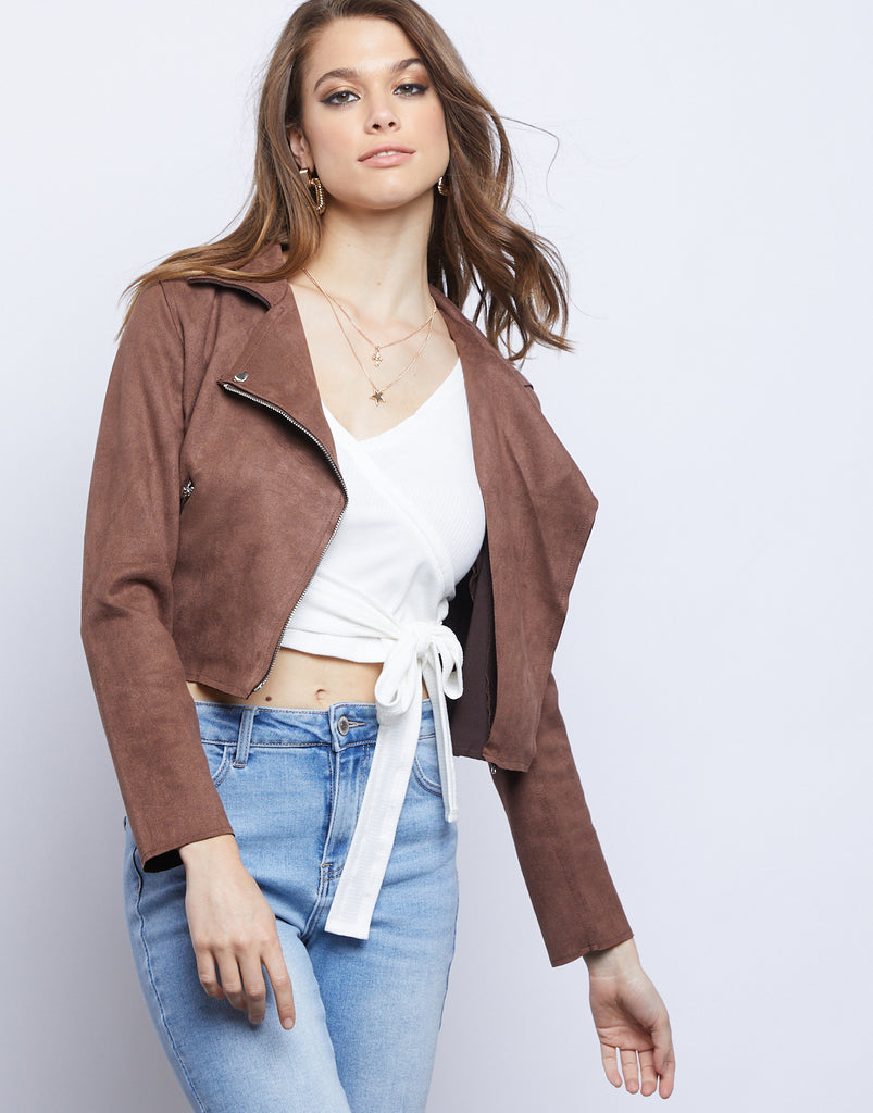 Simone Suede Moto Jacket Outerwear Mocha Small -2020AVE