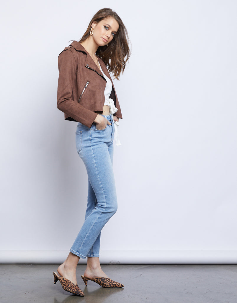 Simone Suede Moto Jacket Outerwear -2020AVE