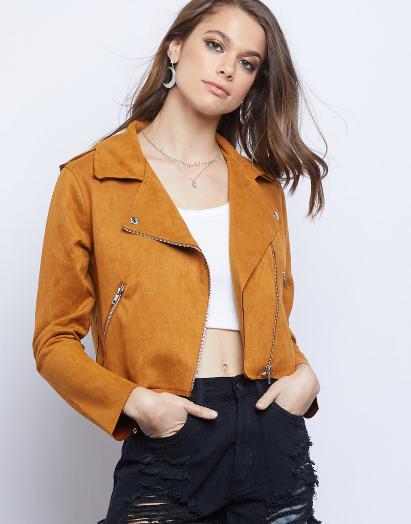 Simone Suede Moto Jacket Outerwear Mustard Small -2020AVE