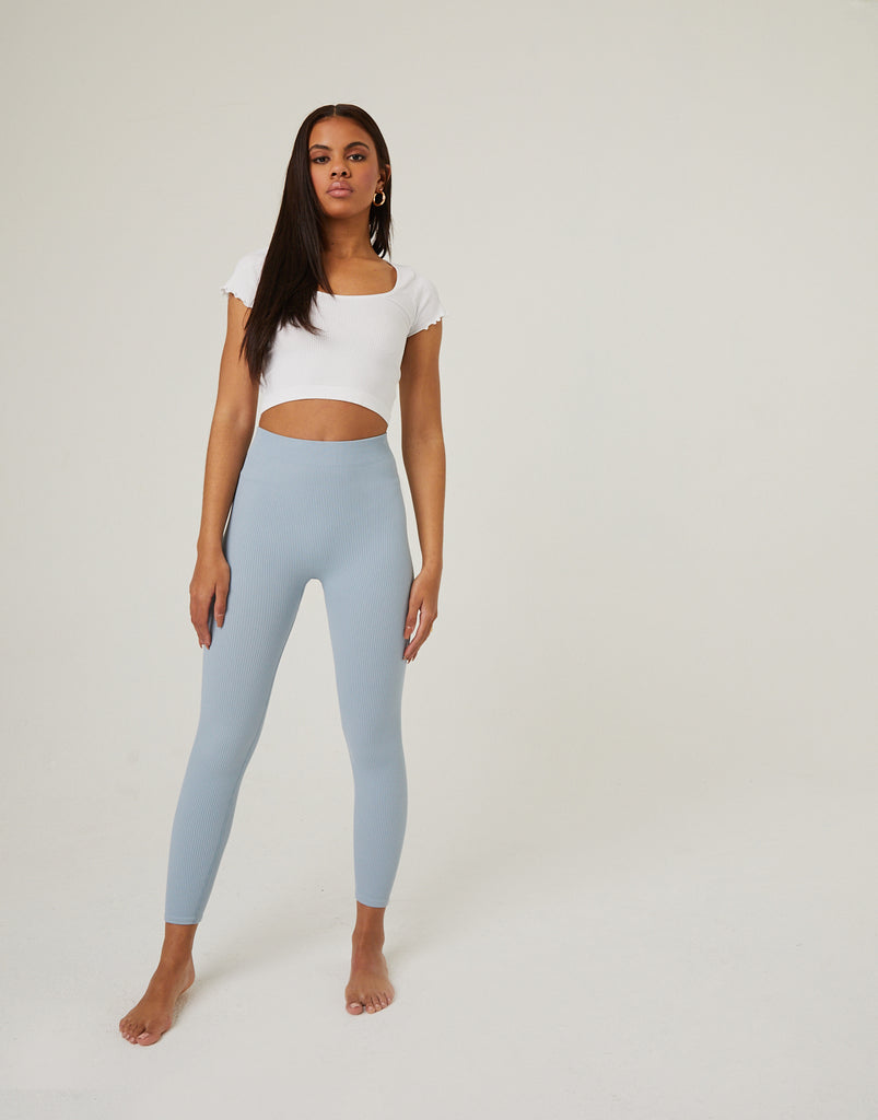 Simple Ribbed Leggings Bottoms Light Blue Small -2020AVE