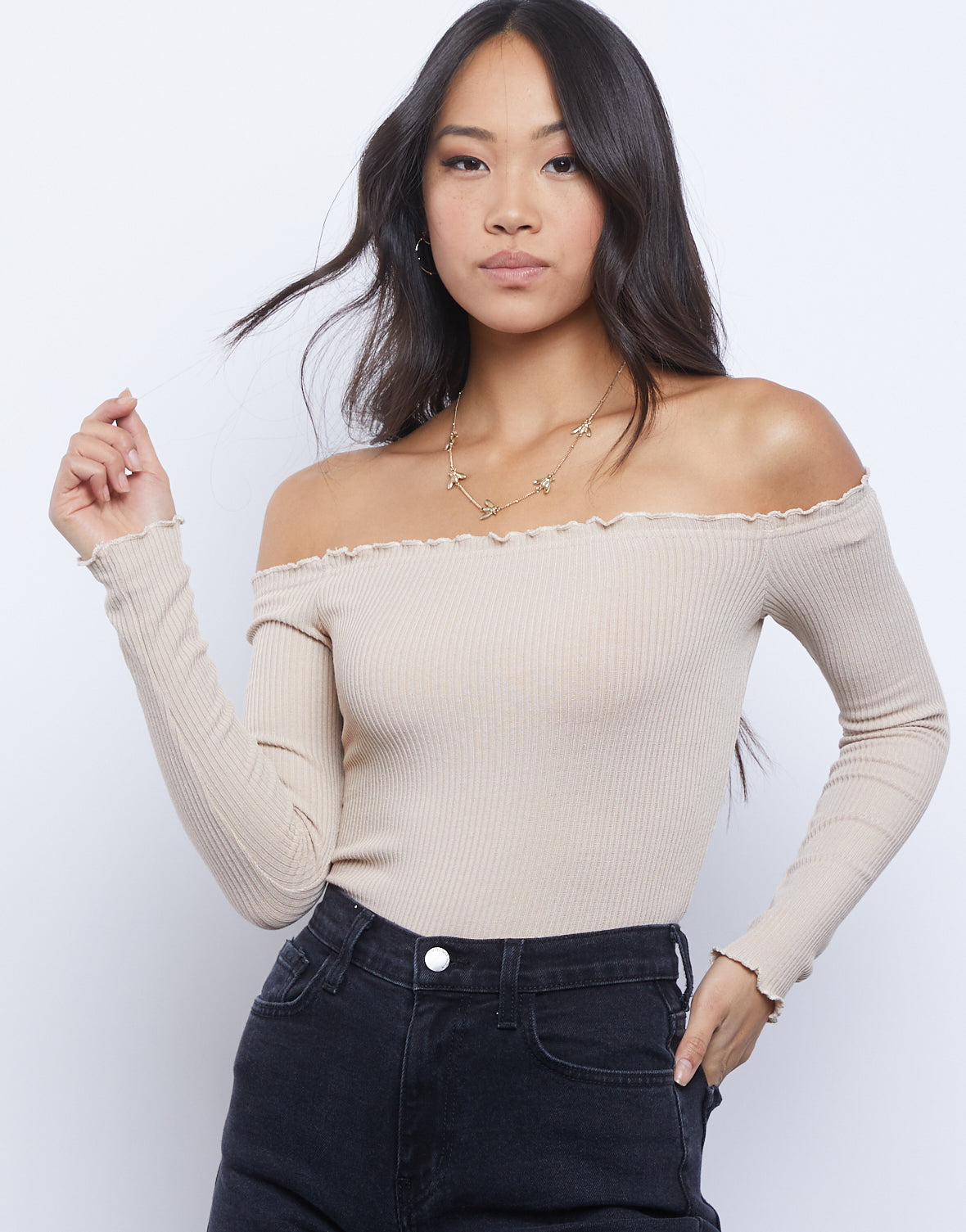 Simple and Sweet Off The Shoulder Top