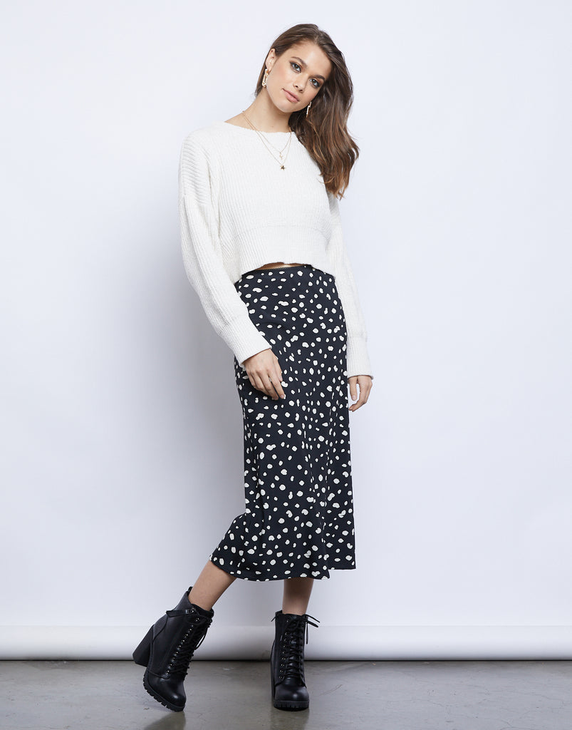 Simply Spotted Midi Skirt Bottoms Black Small -2020AVE