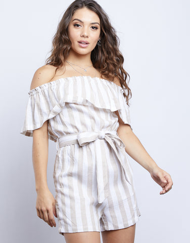 Skye Off Shoulder Striped Romper