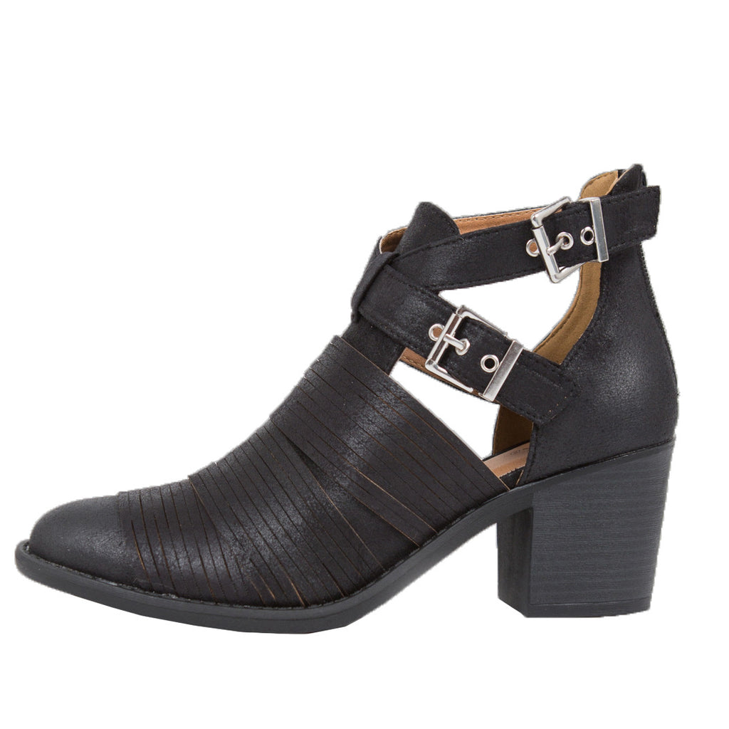 Slashed Buckled Up Ankle Boots - 2020AVE