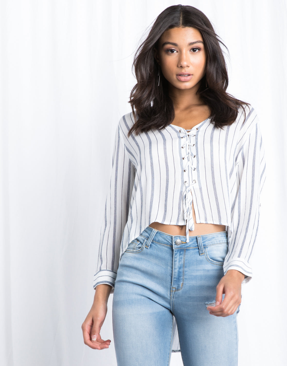 Smooth Sailing Lace Up Top