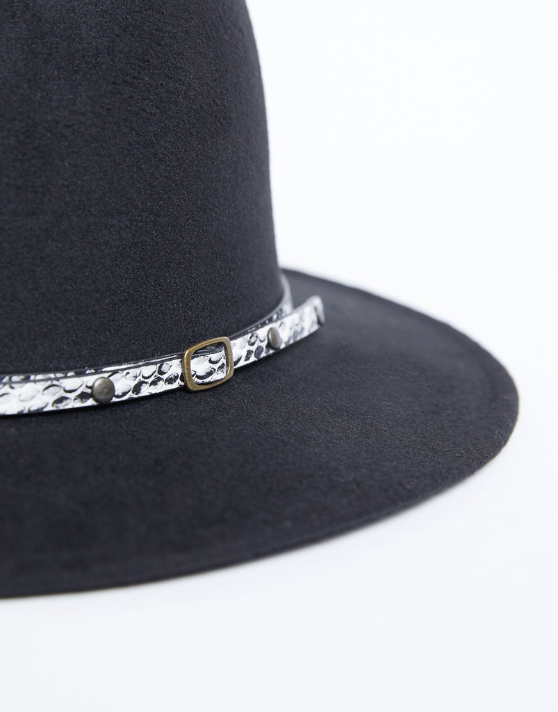 Snakeskin Wide Brim Fedora Accessories Black One Size -2020AVE