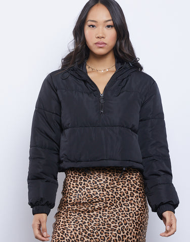 Snowy Days Cropped Puffer Jacket