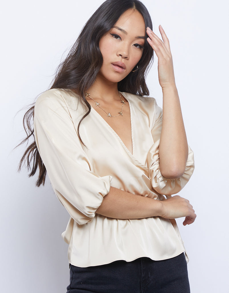 Sofia Silky Wrap Top Tops Champagne Small -2020AVE