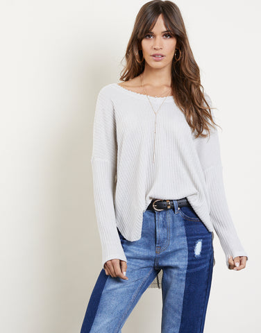 Soft Waffle Knit Long Sleeve Top