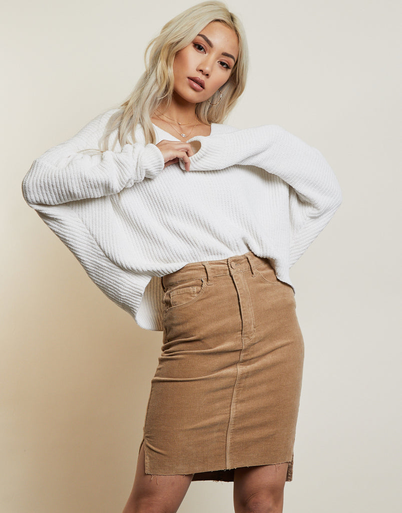 Spellbound Corduroy Midi Skirt Bottoms Sand Small -2020AVE