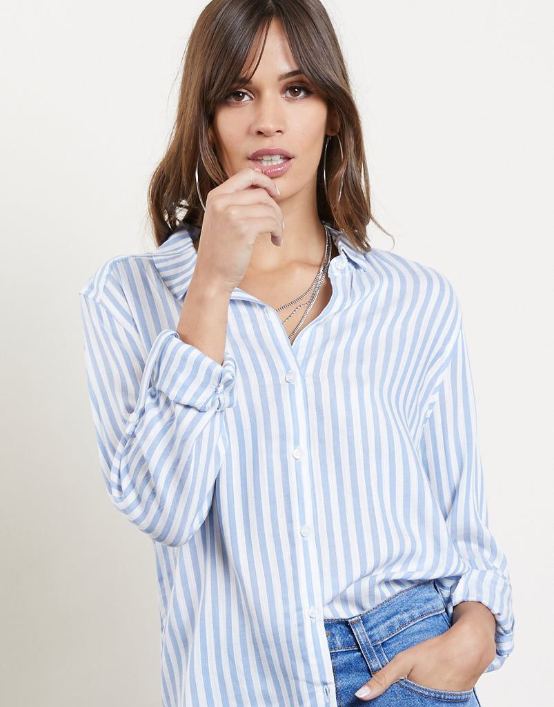 Stripe Right Button Up Shirt Tops Light Blue Small -2020AVE