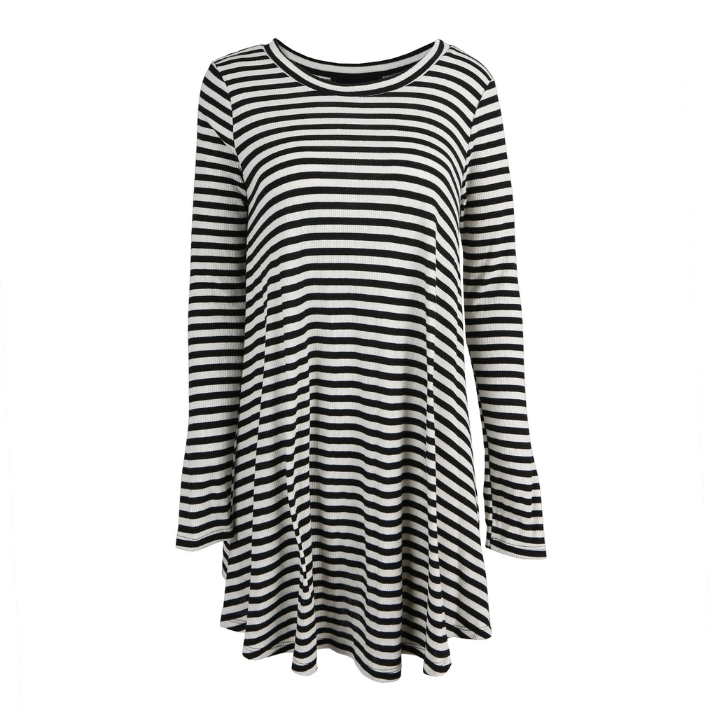 Striped Long Sleeve Flare Dress - 2020AVE