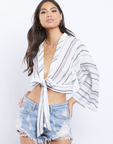 Stripes On Stripes Tie Front Shirt