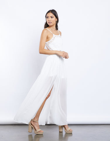 Summer Dreaming Chiffon And Crochet Maxi Dress