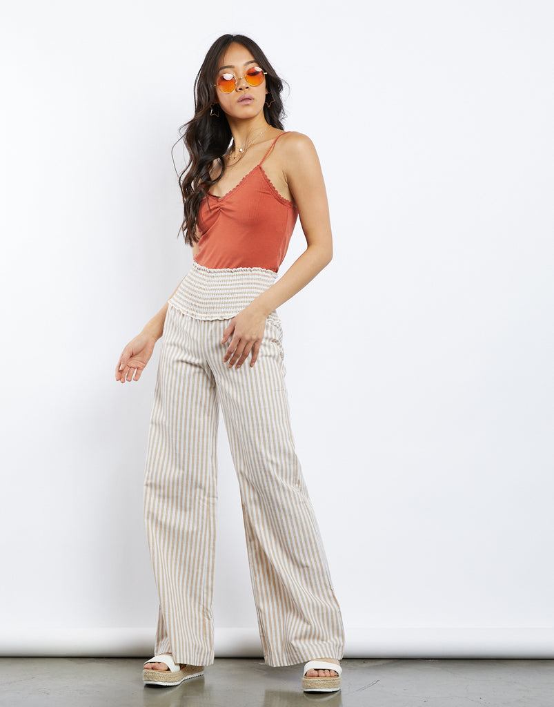 Summer In Santorini Striped Pants Bottoms Taupe Small -2020AVE