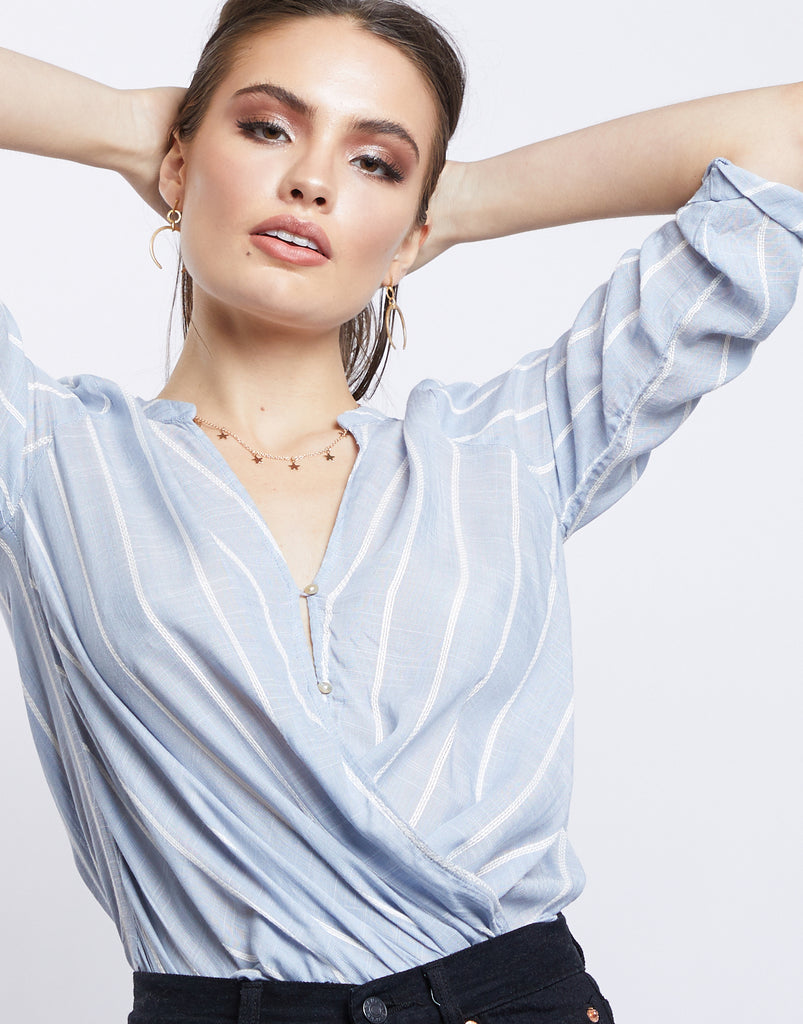 Summer Nights Striped Surplice Top Tops -2020AVE