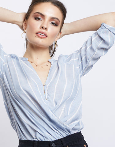 Summer Nights Striped Surplice Top