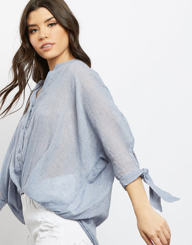 Summer Nights Woven Surplice Top