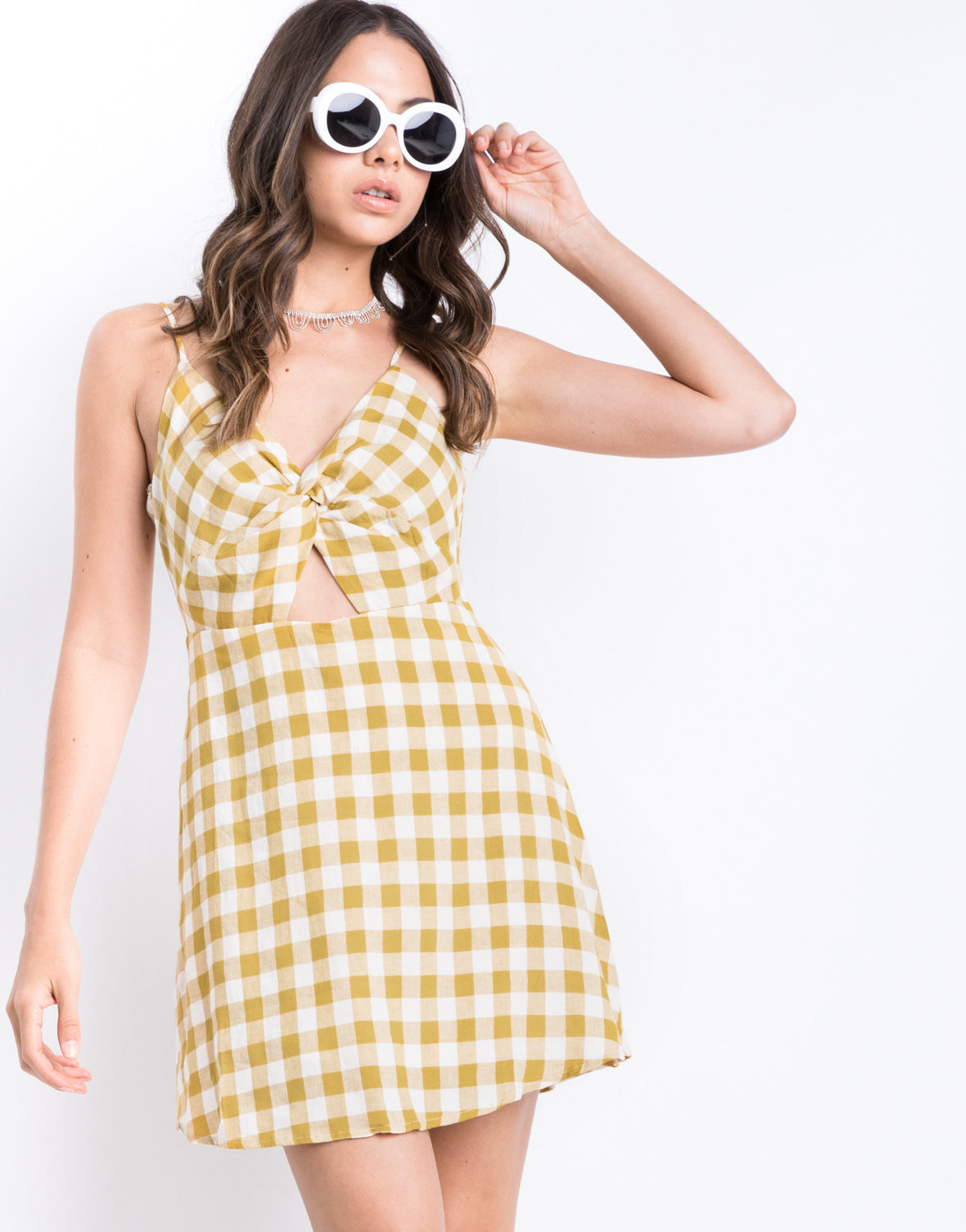 Sunset Twist Front Gingham Dress