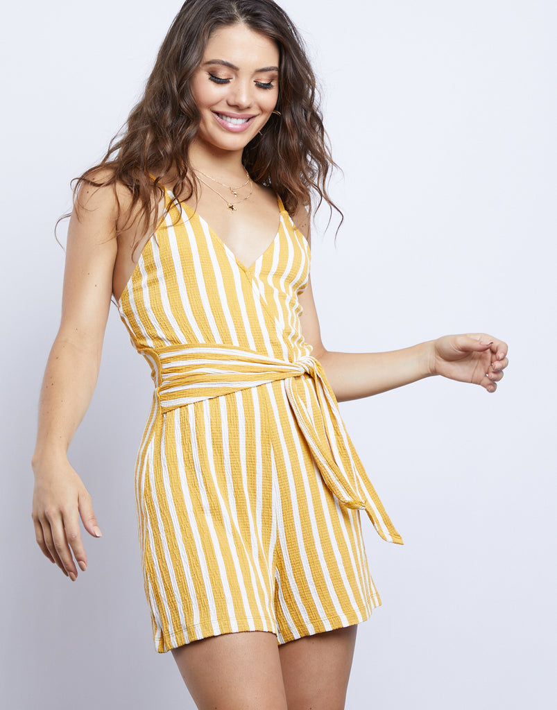 Sunshine Girl Striped Romper Rompers + Jumpsuits Yellow Small -2020AVE
