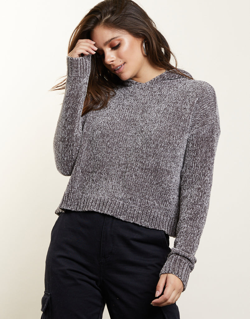 Super Soft Chenille Hooded Sweater Tops -2020AVE