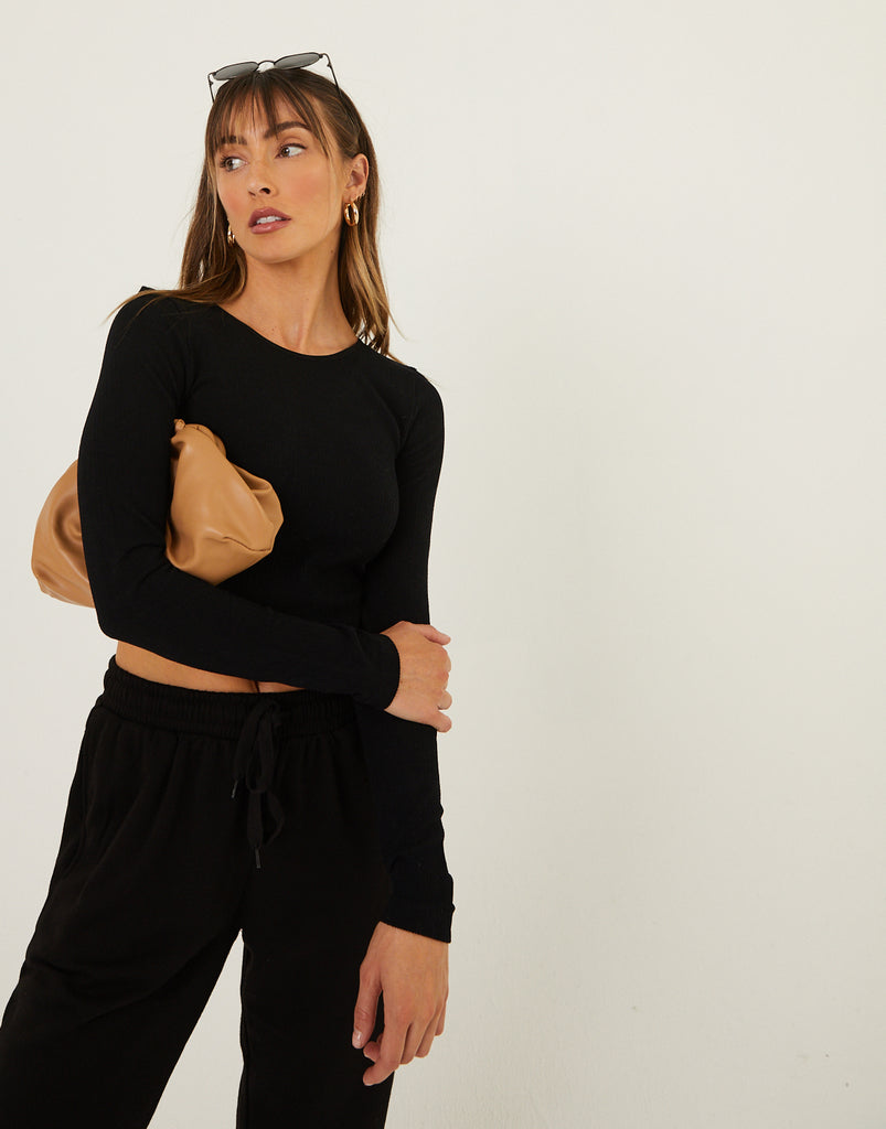 Basic Fitted Long Sleeve Top Tops Black S/M -2020AVE