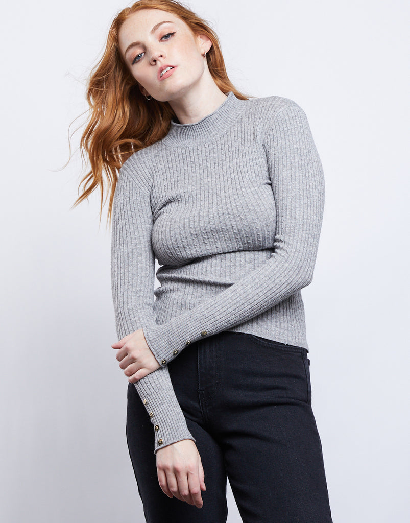Sweater Weather Cable Knit Top Tops Heather Gray Small -2020AVE