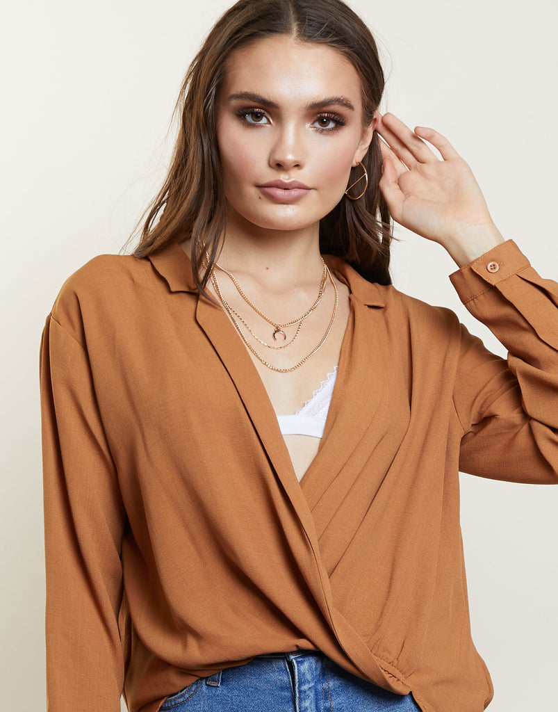 Sweet Melody Surplice Top Tops Dark Camel Small -2020AVE