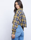 Sylvie Raw Edge Cropped Flannel Shirt