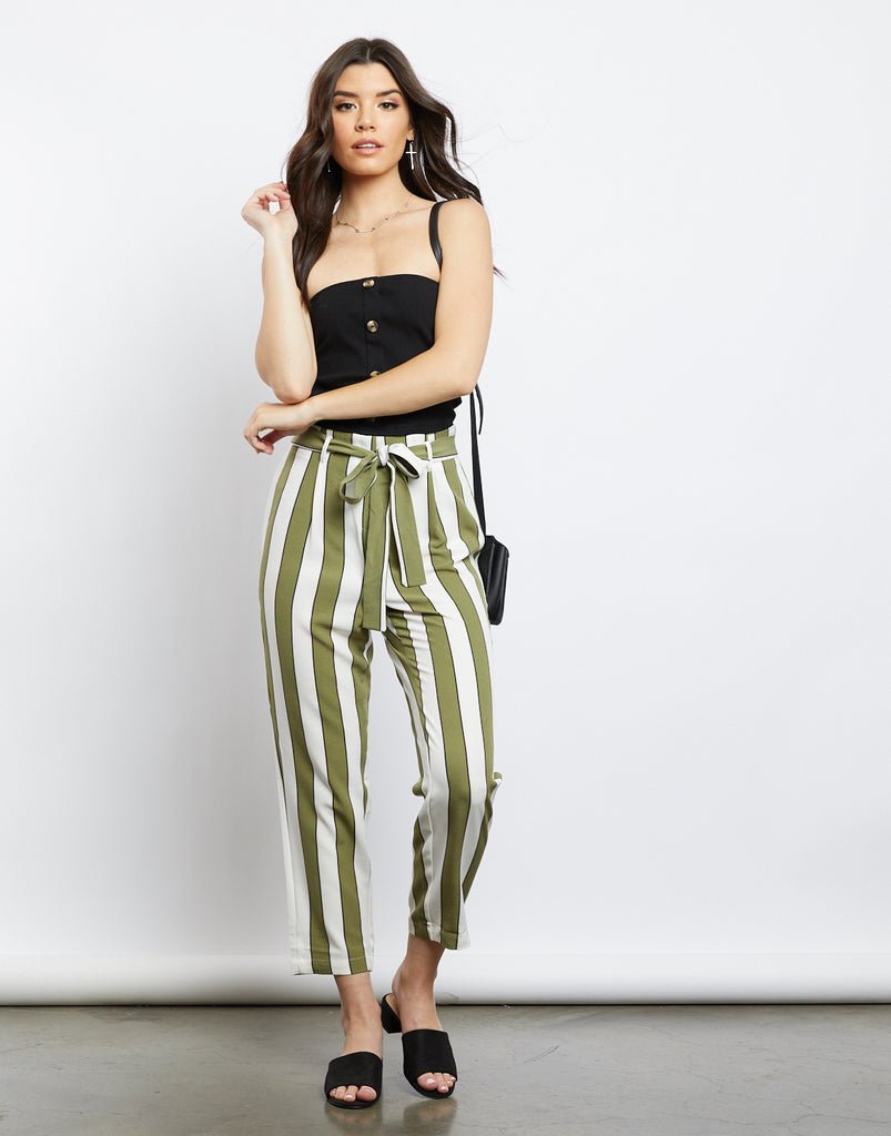 Abigail Striped Paper Bag Pants Bottoms Olive Small -2020AVE