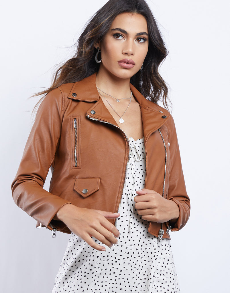Talk To Me Leather Jacket Outerwear Cognac Small -2020AVE