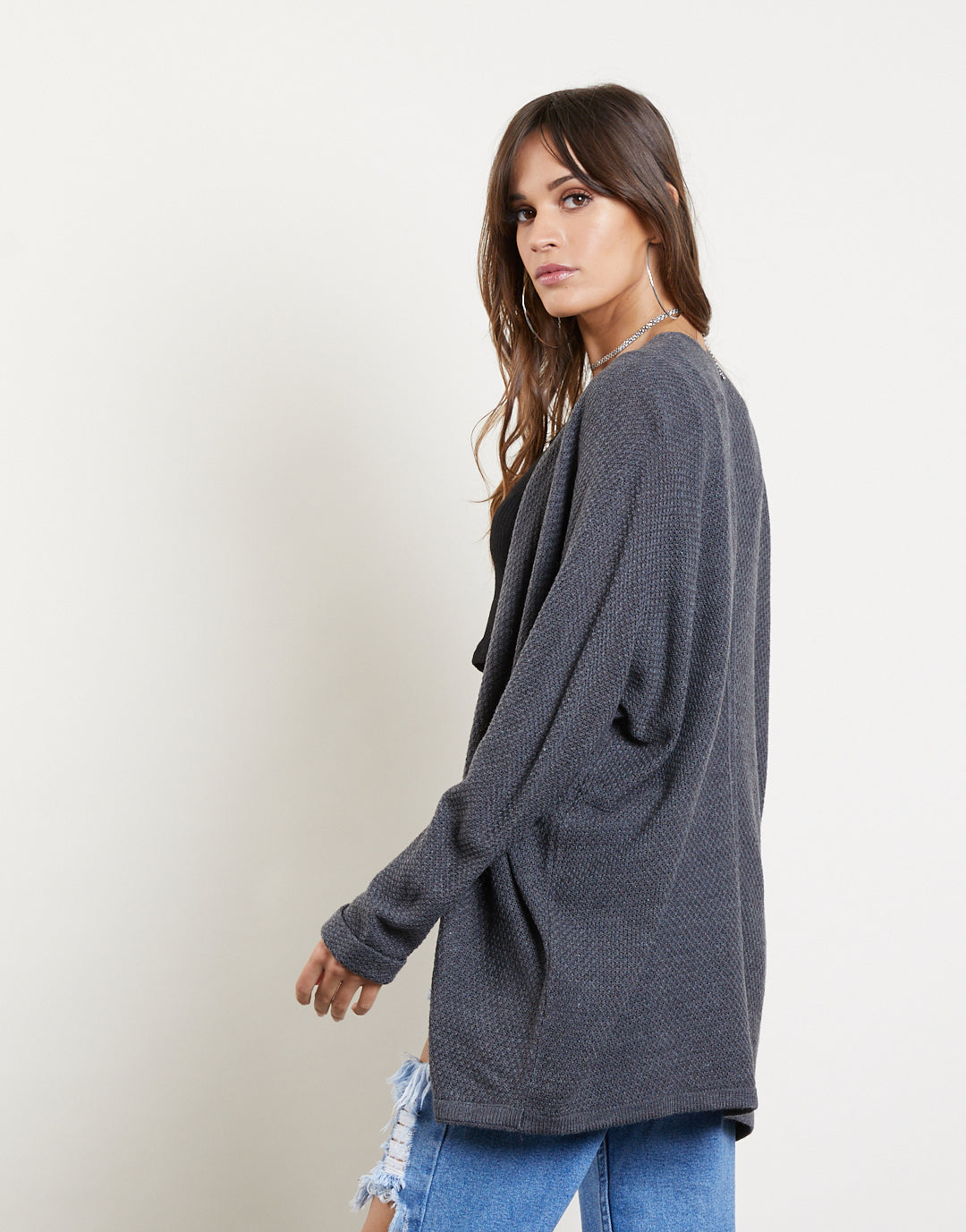 Textured Cuffed Sleeves Cardigan