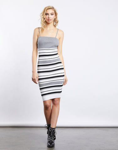 End Of The Line Striped Midi Dress