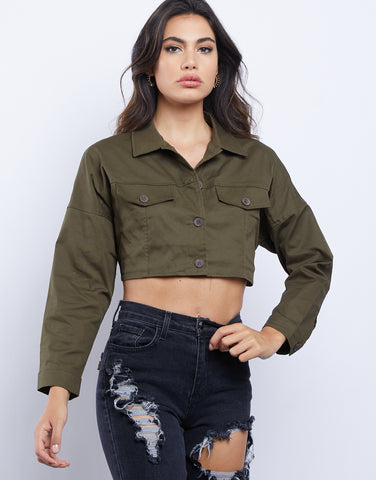 Erin Cropped Button Up Shirt