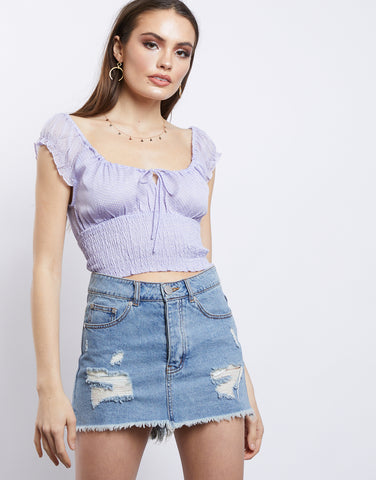 Jet Setter Tie In Front Cropped Top
