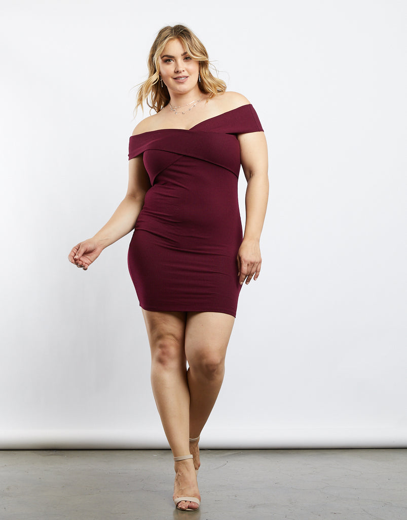 Curve Wrap Around Off The Shoulder Dress Plus Size Dresses Burgundy 1XL -2020AVE