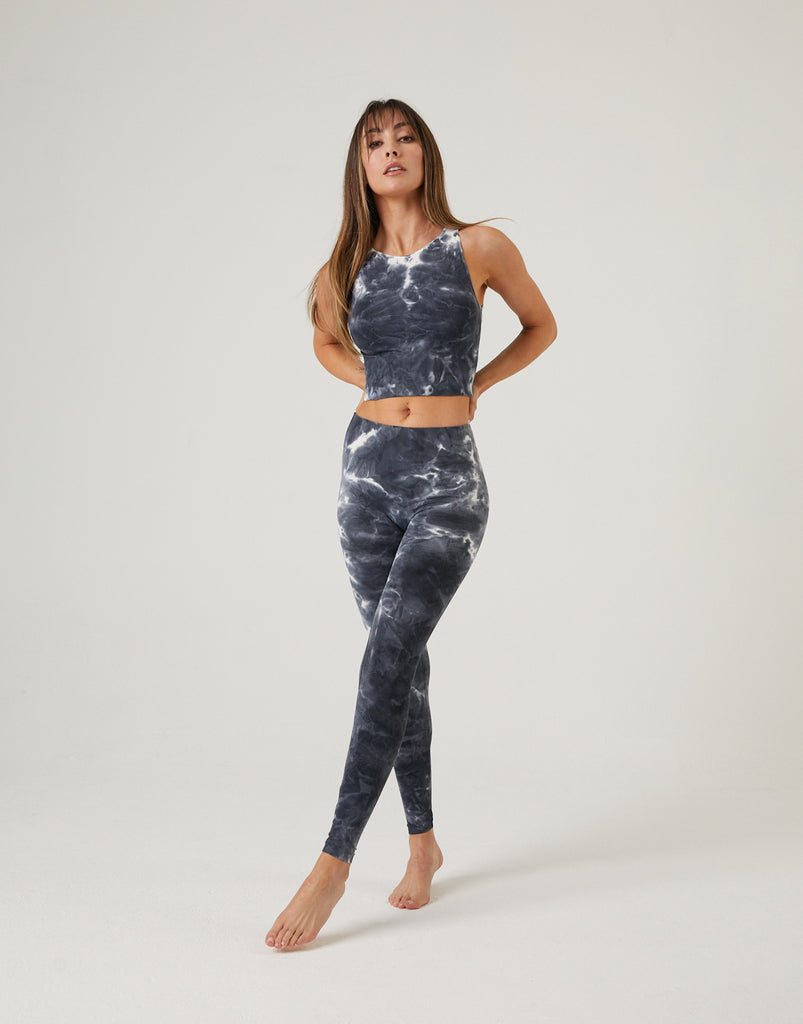 Tie Dye Athletic Leggings Bottoms Charcoal One Size -2020AVE