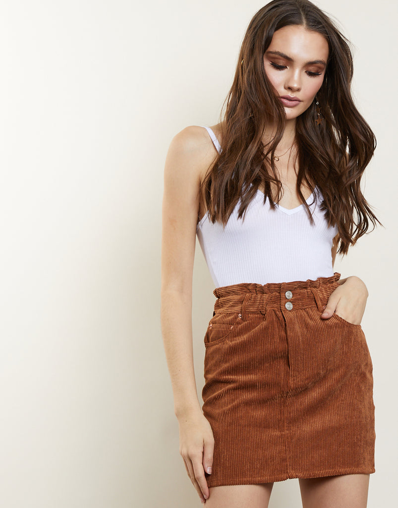 Track Re-cord Corduroy Skirt Bottoms Brown Small -2020AVE