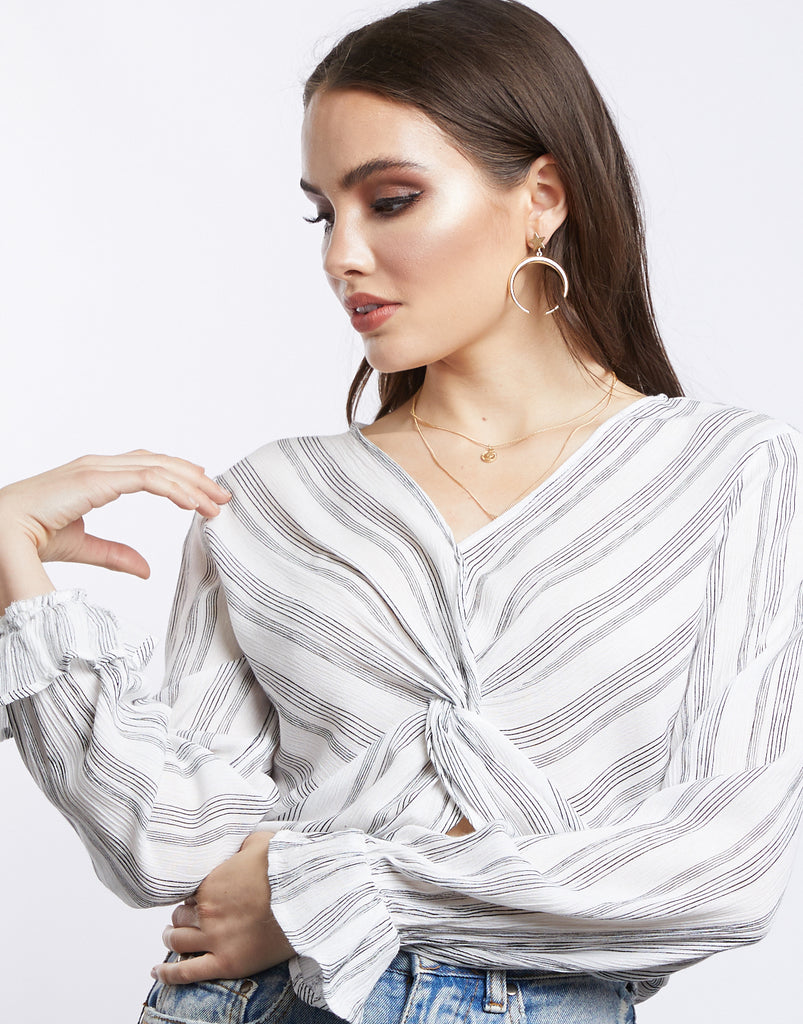 Twisted Road Striped Blouse Tops Ivory Small -2020AVE