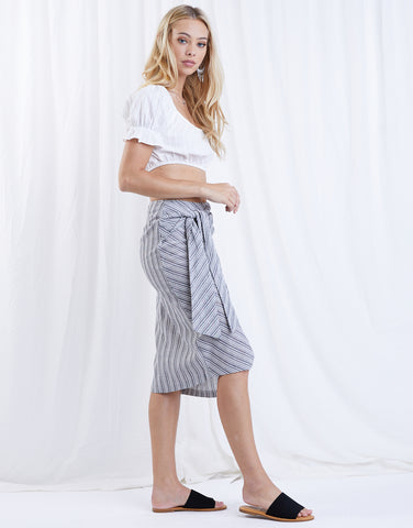 Vertical Lines Wrap Skirt