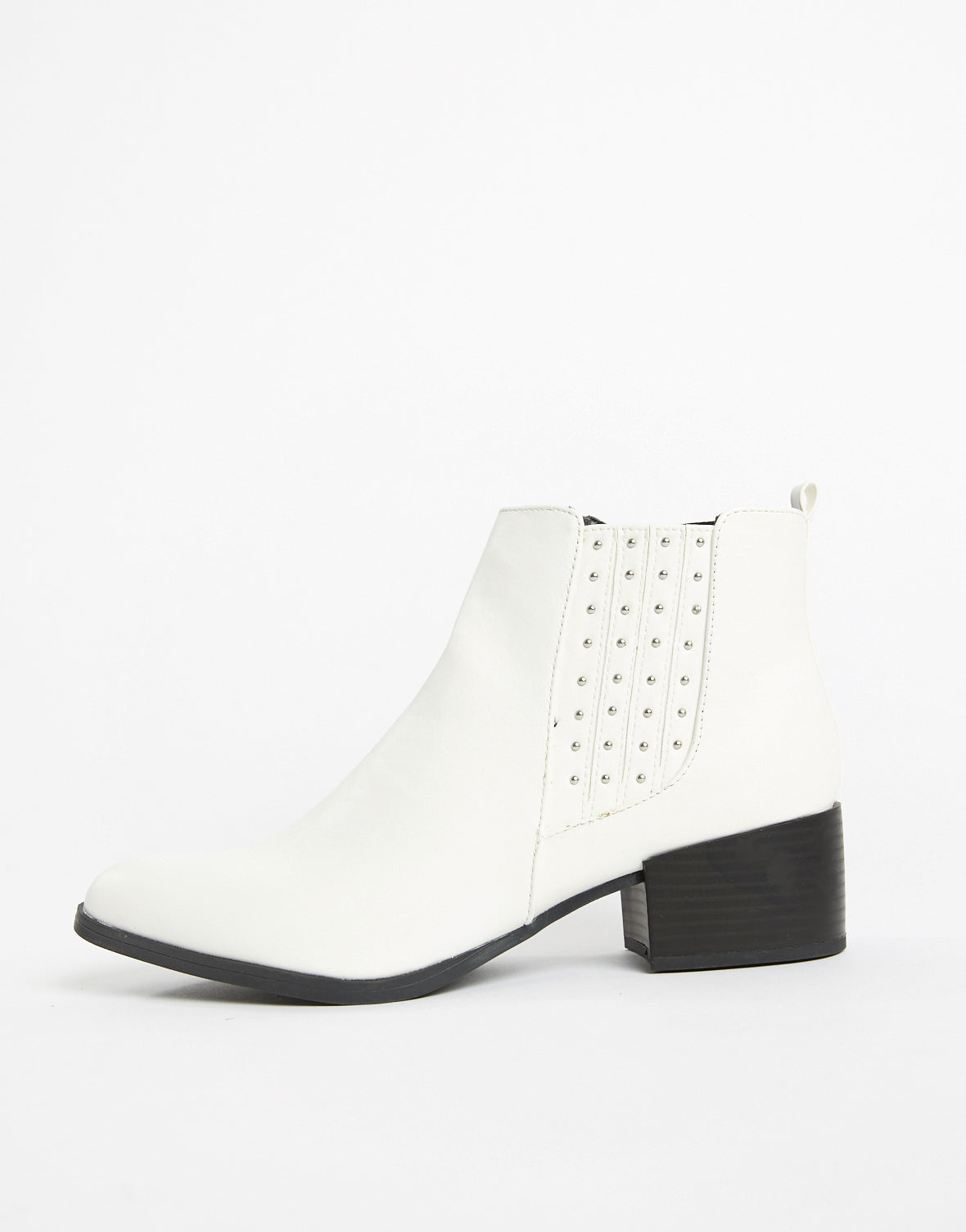 Celine White Stud Booties