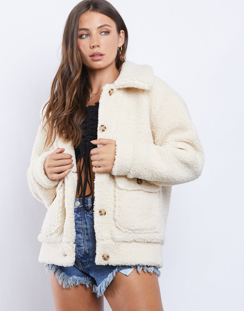Warm Fuzzies Sherpa Coat Outerwear Beige Small -2020AVE