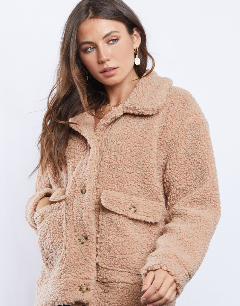 Warm Fuzzies Sherpa Coat Outerwear Tan Small -2020AVE
