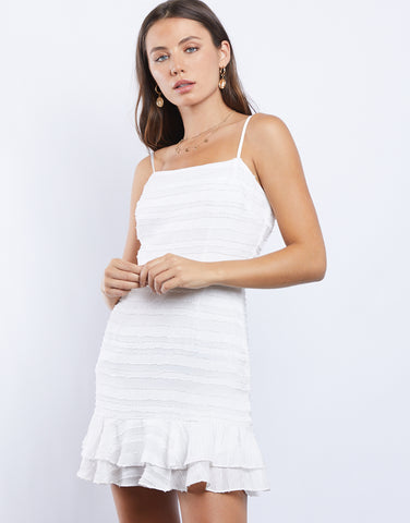 Wedding Bells White Ruffle Dress