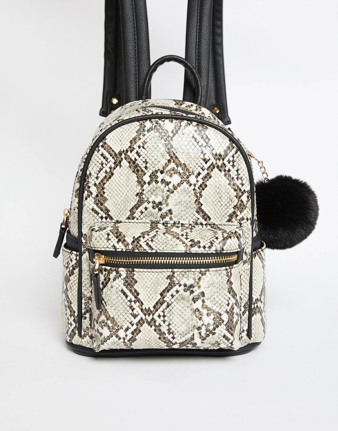 What The Faux Snakeskin Mini Backpack