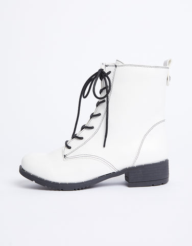 White Out Lace Up Combat Boots