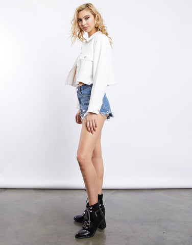 White Sand Cropped Denim Jacket